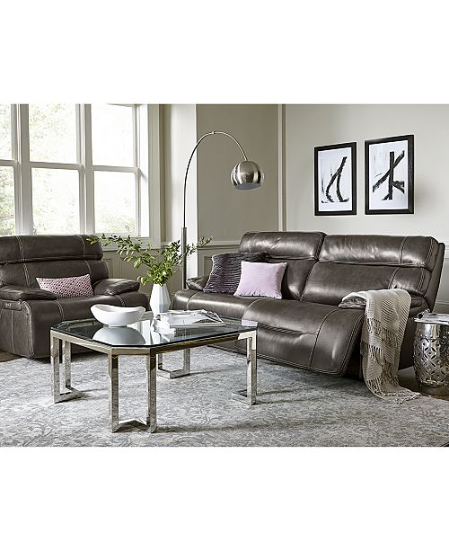 Barington 85 Leather Sofa with 2 Power Recliners, Power Headrests and USB  Power Outlet