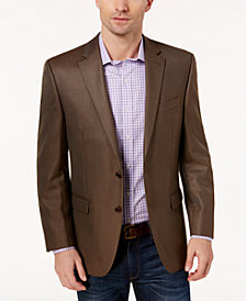 Lauren Ralph Lauren Men's Big & Tall Classic-Fit Medium Brown Mini-Check Ultraflex Sport Coat