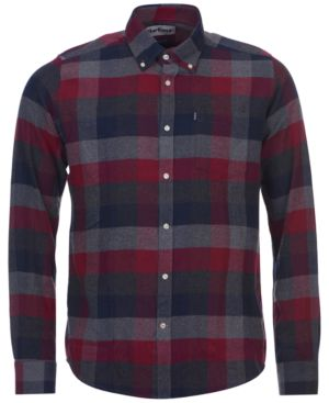 BARBOUR Angus Tailored Fit Check Twill Shirt in Med Gray