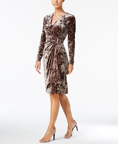 Calvin Klein Velvet Faux Wrap Dress Dresses Women Macy S