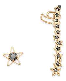 I.N.C. Gold-Tone Stone Stud and Climber Mismatch Earrings, Created for Macy's