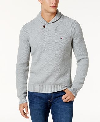 Tommy Hilfiger Men's Waffle Knit Shawl-Collar Sweater - Sweaters ...
