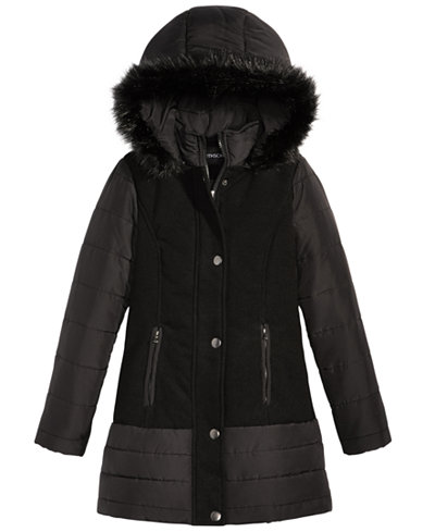 S. Rothschild Hooded Coat with Faux-Fur Trim, Big Girls (7-16 ...