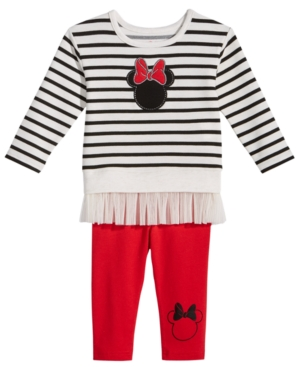 Minnie Mouse 2Pc Striped Top  Leggings Set Baby Girls (024 months)