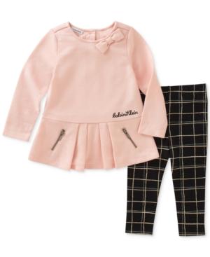 Calvin Klein 2Pc Peplum Tunic  Plaid Leggings Set Baby Girls (024 months)