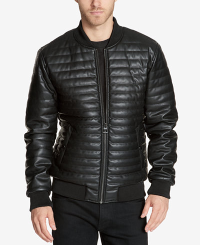 GUESS Men's Quilted Faux-Leather Bomber Jacket - Coats & Jackets ... : quilted leather jacket mens - Adamdwight.com