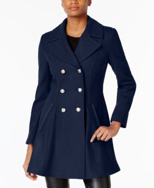 LAUNDRY BY SHELLI SEGAL Double-Breasted Military Fit & Flare Coat in Navy