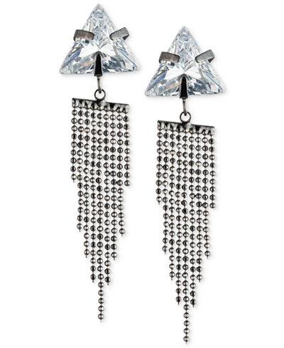 ABS by Allen Schwartz Hematite-Tone Triangle Crystal Fringe Drop Earrings