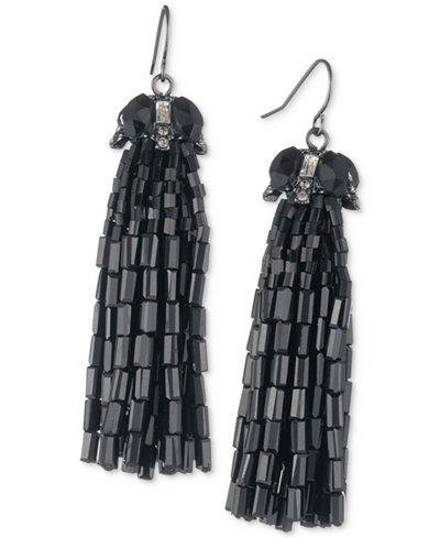 Carolee Hematite-Tone Tassel Drop Earrings