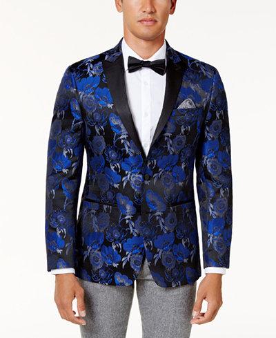 Tallia Men's Slim-Fit Blue and Black Floral Pattern Dinner Jacket ...