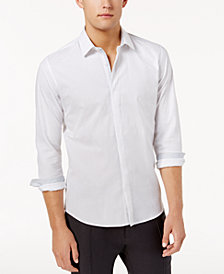 Ryan Seacrest Distinction™ Men's Hidden Placket Solid Textured Woven Shirt, Created for Macy's