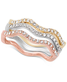 Charter Club Tri-Tone 3-Pc. Set Pavé Wavy Rings, Created for Macy's
