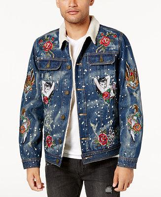Reason Men S Embroidered Fleece Lined Denim Jacket Coats