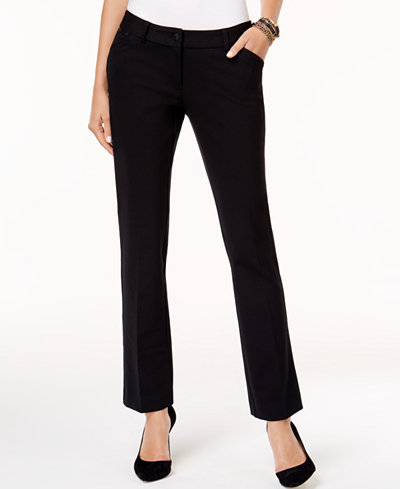 Alfani Petite Faux-Leather-Trim Straight-Leg Pants, Created for Macy's