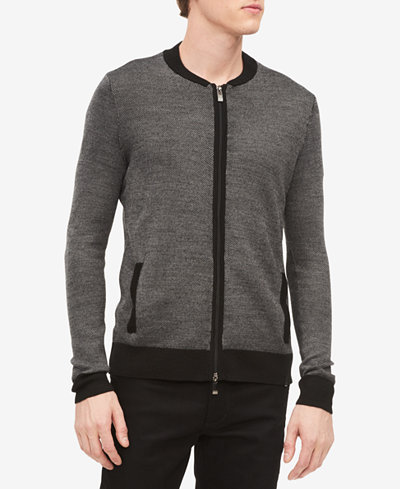 Calvin Klein Men's Merino Full-Zip Sweater, Created for Macy's
