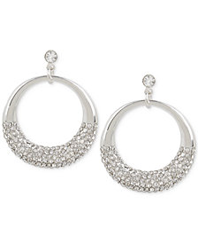 Touch of Silver Crystal Pavé Gypsy Hoop Earrings in Silver-Plate
