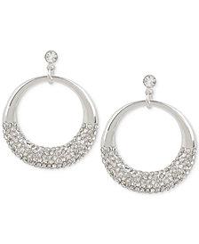 Touch of Silver Crystal Pavé Gypsy Hoop Earrings in Silver-Plate