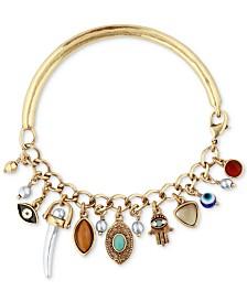 Lucky Brand Two Tone Multi Stone Charm Cuff Bracelet
