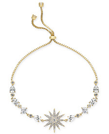 Joan Boyce Silver-Tone Crystal Starburst Slider Bracelet