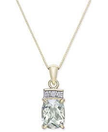 Green Quartz (1-7/8 ct. t.w.) & Diamond Accent Pendant Necklace in 14k Gold