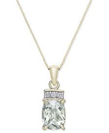 Green Quartz (1-7/8 ct. t.w.) & Diamond Accent Pendant Necklace in 14k Gold