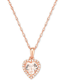 Morganite (5/8 ct. t.w.) & Diamond Accent Heart Pendant Necklace in 14k Rose Gold
