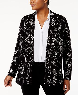 Charter Club Plus Size Jacquard Cardigan, Created for Macy's