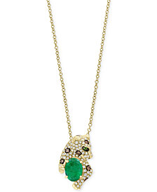 Signature by EFFY® Multi-Gemstone (1-1/6 ct. t.w.) & Diamond (1/3 ct. t.w.) Leopard Pendant Necklace in 14k Gold