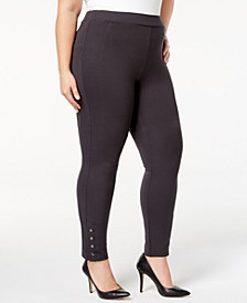 Plus Size Ponté Knit Snap-Bottom Leggings, Created for Macy's