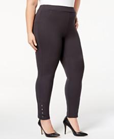 Style & Co Plus Size Ponté Knit Snap-Bottom Leggings, Created for Macy's