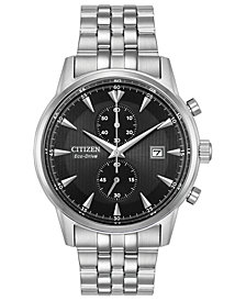 Citizen Eco-Drive Men's Chronograph Corso Stainless Steel Bracelet Watch 43mm
