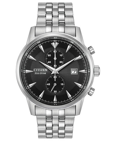 Citizen Eco-Drive Men's Chronograph Corso Stainless Steel Bracelet Watch 43mm