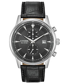 Citizen Eco-Drive Men's Chronograph Corso Black Leather Strap Watch 43mm