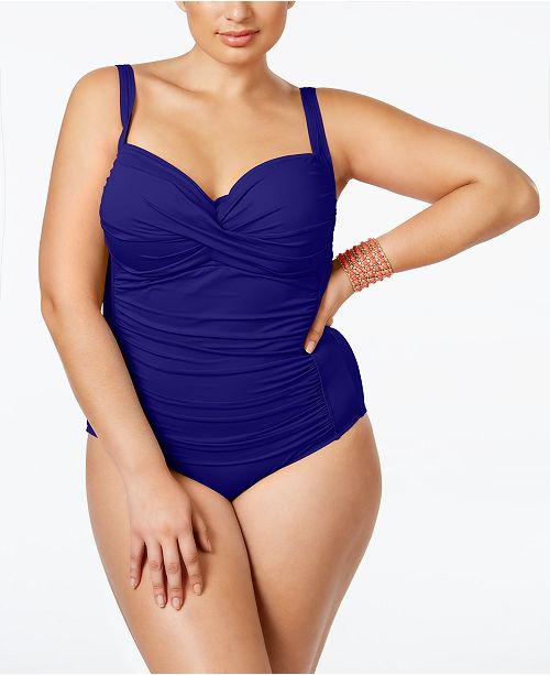 e9408baa03e3c La Blanca Plus Size Ruched One-Piece Swimsuit. Macy's / Plus Sizes /  Swimwear