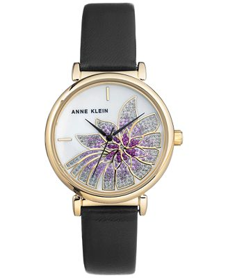Anne Klein Women's Black Leather Strap Watch 36mm