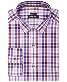 Bar III Men's Slim-Fit Stretch Easy-Care Burgundy Purple Check Dress Shirt, Created for Macy's