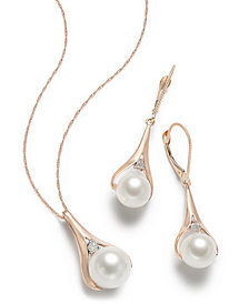 Pearl & Diamond Earring and Pendant Necklace Collection in 14k Rose Gold