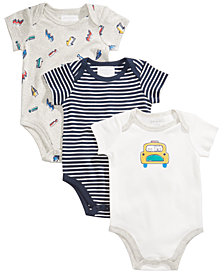 First Impressions 3-Pk. Car Cotton Bodysuits, Baby Boys, Created for Macy's