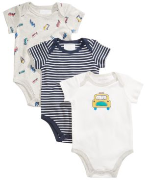 First Impressions 3-Pk. Car Cotton Bodysuits, Baby Boys, Created for Macy's 4850928