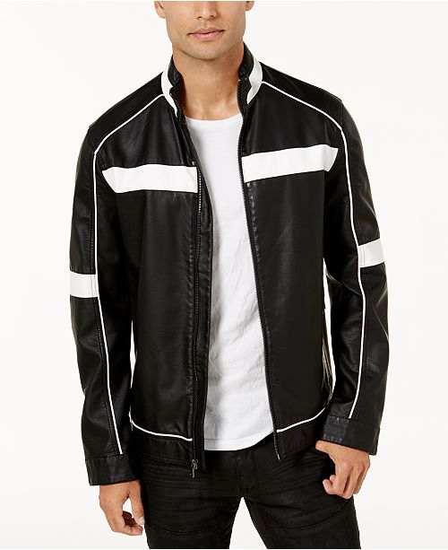 INC International Concepts I.N.C. Men's Colorblocked Faux Leather Racer Jacket, Created for Macy's