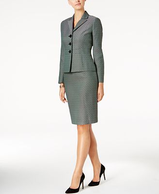 Le Suit Three Button Tweed Skirt Suit Wear To Work Women Macy S