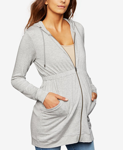 A Pea In The Pod Maternity French Terry Zip-Front Hoodie