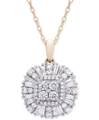 Diamond Cluster Pendant Necklace (3/4 ct. t.w.) in 14k Gold, Created for Macy's