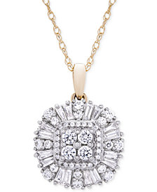 Wrapped in Love™ Diamond Cluster Pendant Necklace (3/4 ct. t.w.) in 14k Gold, Created for Macy's