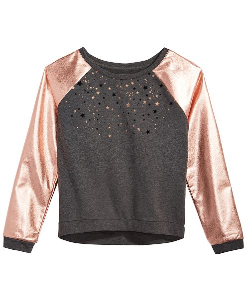 Glitter-Print Sweatshirt, Big Girls, Created for Macy's