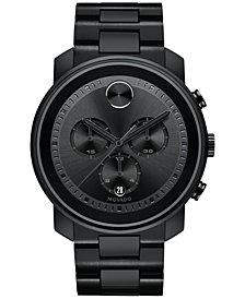 Movado Men's Swiss Chronograph BOLD Black Stainless Steel Bracelet Watch 44mm