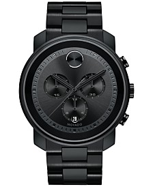 Movado Men's Swiss Chronograph BOLD Black Stainless Steel Bracelet Watch 44mm