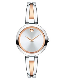 Women's Swiss Aleena Two-Tone PVD Stainless Steel Bangle Bracelet Watch 27mm, Created for Macy's