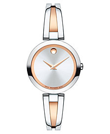 Movado Women's Swiss Aleena Two-Tone PVD Stainless Steel Bangle Bracelet Watch 27mm, Created for Macy's