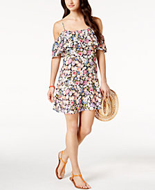 Lucky Brand Late Bloomer Floral-Print Cold-Shoulder Cover-Up Dress